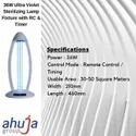36W Ultra Violet Sterilizing Lamp Fixture with RC & Timer