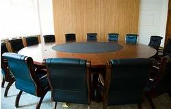 ROUND WOODEN CONFERENCE TABLE