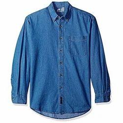 Full Sleeves Regular Blue Mens Denim Shirt