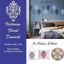 Victorian Floral Damask Furniture Stencil
