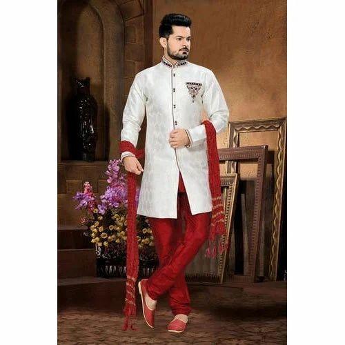 0a989c4b1d 38 And 42 White   Red Mens Wedding Sherwani