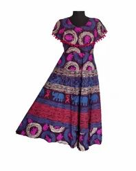 Party Wear Jaipuri print poncho Frock