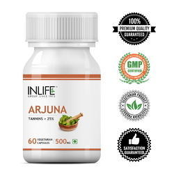 Promotes Heart Health. Inlife Arjuna Extract Supplement 500mg - 60 Vegetarian Capsules, For Personal, Non Prescription
