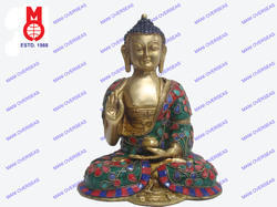 Lord Buddha W/Out Base Flower Stone & Wire Work Statue