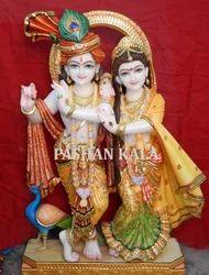 Antique Marble Radha Krishna Statue