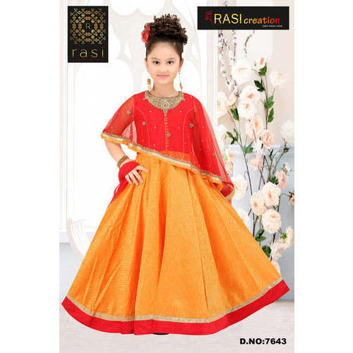 cf8bd86ba4a68 Synthetic Party Wear Kids Long Cape Gown, Rs 1695 /piece, Rasi ...
