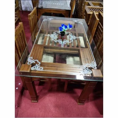 Brown Modern Teak Wood 4 Seater Dining Table Set For Home Size 2 3 Feet Rs 12500 Set Id 21574918612