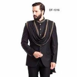 Diwan Saheb DF-1016 Mens Black Bandhgala Suit