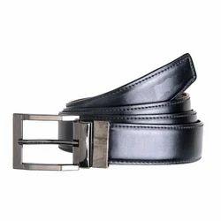 Mens Black Stainless Steel Buckle Leather Belt