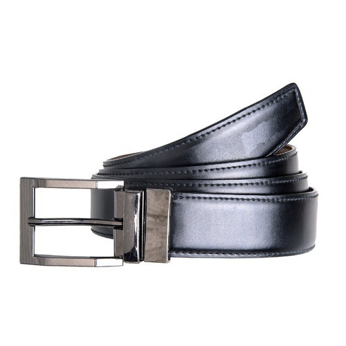 Mens Black Stainless Steel Buckle Leather Belt