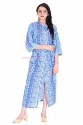Blue Stripe Cotton Kimono Bath Robe