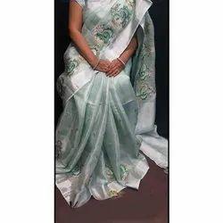 Party Wear Embroidered Ladies Art Tissue Silk Saree, 6.3 Meter