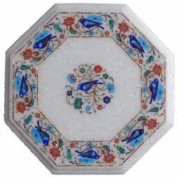 Pietra Dura Inlay Peacock Art Table Top