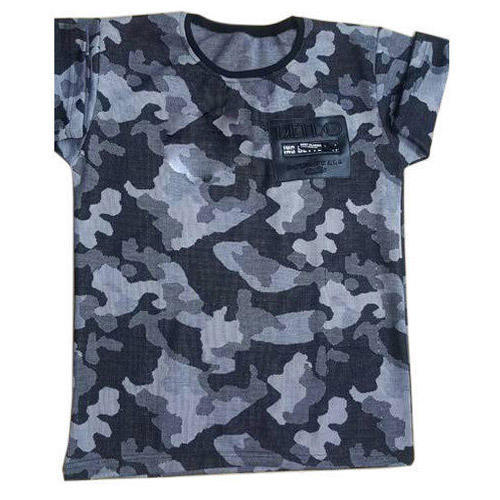 Cotton Round Kids Army Print T Shirt a211fed67f1