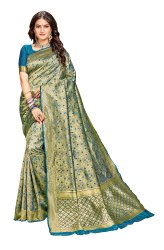 Banarasi Banarasi Weaving Firozi Color Party Wear Traditional Wedding Wear Saree