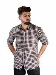 Collar Neck Checks Mens Designer Cotton Check Shirt, Size: S-XXL