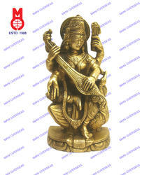 Goddess Saraswati Sitting On Swan Statue