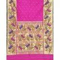 Lotus Golden Border Brocade Pure Silk Handloom Paithani Saree