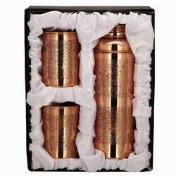 Original Golden Copper Bottle Set Of 3 Pcs, for Home