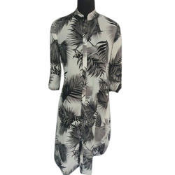 Ladies Printed Button Down Long Tunic Top