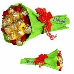 Green Gifting (Anniversary/Birthday) Flower Decorative Chocolate Rosher Boquet
