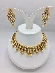Fancy Rich Look Jewelry Tripple line kundan chick set, Necklace