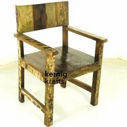 Kernig Krafts Brown Reclaimed Wood Chair With Hand Rest, Size: 23x23x33 Cm