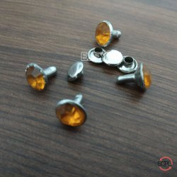 9mm Steel & Stone Stone Rivets Orange