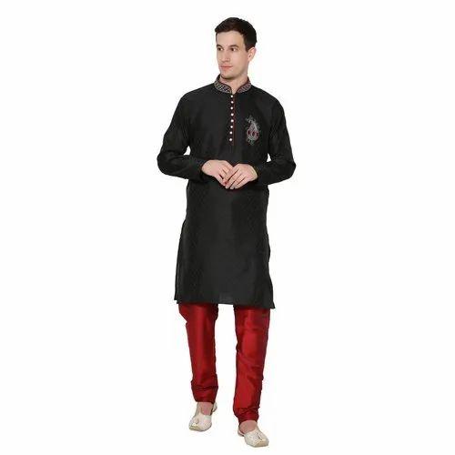 2c23861b64 Skavij Men' s Dupion Art Silk Ethnic Wear Wedding Kurta Pajama - (Black)