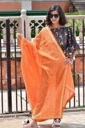 Designer Leheriya Four Side Laiz Dupatta