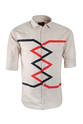 Three Colours Cotton, Linen Designer Zig Zag Shirt