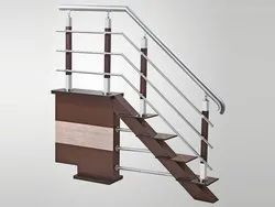 Pipe stainless steel Wooden Coated Ralling, Mounting Type: Floor