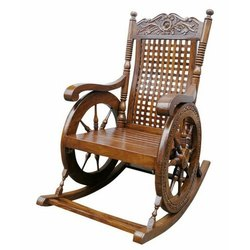 Brown Net Weight: 25 Kg Wooden Rocking Chair, Finish: Polished