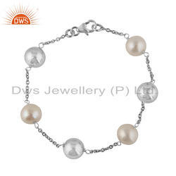White Rhodium Plated Silver Round Bead And Natural Pearl Bracelet Jewelry