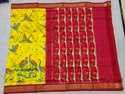 Partywear Designer Bird Print Red And Yellow Ikkat Silk Zari Border Saree, Length: 6.5 M