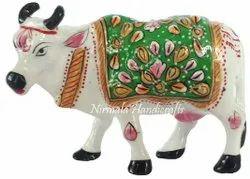 Metal Meenakari Cow Statue Enamel Work