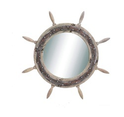 Vintage Antique Finish Wooden Ship Wheel Mirror