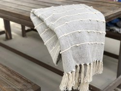 Grey Hand Woven Stripe Throws Boho Sofa Throws Warm Cotton Bed Throw Blankets