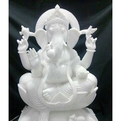 Lord White Ganesha Marble Statue
