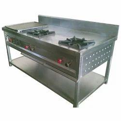 Bakeworks Equipment Ss Two Burner Cooking Range, For Restaurant