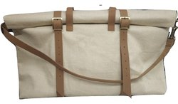 Jute and Genuine Leather Duffle Bag