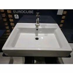 White Ceramic Eurocube Square Wash Basin, Packing Type: Box