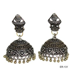 Brass & Alloy Golden Oxidized Earrings, Set Content: 1 Pair