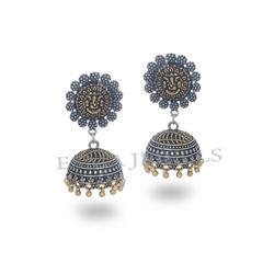 Silver Black Gold Plated Jhumka