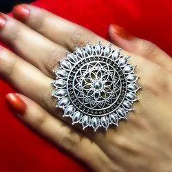 Oxidized Flower Shape Rings