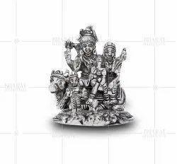 White metal shiv parivar statue