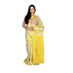 Cotton Yellow Dhakai Jamdani Saree, Length: 6 m