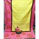 Linen Cutwork Check Saree