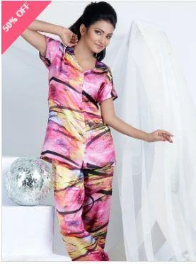 2f34cd900c9 Satin Night Suit Pink Multi