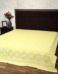 Lemon Yellow Decorative Applique Bedspread